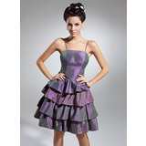 A-Line/Princess Knee-Length Taffeta Cocktail Dress With Cascading Ruffles