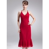 Empire V-neck Tea-Length Chiffon Bridesmaid Dress With Ruffle