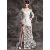A-Line/Princess Off-the-Shoulder Court Train Satin Lace Wedding Dress With Beading Split Front