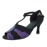 Women's Velvet Taffeta Heels Sandals Latin With T-Strap Dance Shoes