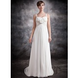 Empire Sweetheart Court Train Chiffon Bridesmaid Dress With Ruffle Beading Flower(s)