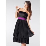 A-Line/Princess Strapless Knee-Length Chiffon Satin Bridesmaid Dress With Sash Pleated