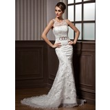 Trumpet/Mermaid Scoop Neck Court Train Organza Satin Lace Wedding Dress With Ruffle Beading Bow(s)
