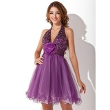 A-Line/Princess Halter Short/Mini Taffeta Tulle Homecoming Dress With Ruffle Beading Flower(s) (022020841)