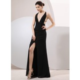Sheath V-neck Sweep Train Chiffon Evening Dress (017014068)
