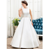 Scoop Neck Floor-Length Satin Wedding Dress With Beading Sequins