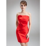 Sheath Scalloped Neck Short/Mini Charmeuse Cocktail Dress With Ruffle