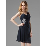 Sheath/Column One-Shoulder Short/Mini Chiffon Cocktail Dress With Ruffle Beading Appliques Sequins (016003019)