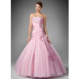 Trumpet/Mermaid Strapless Floor-Length Taffeta Organza Prom Dress With Ruffle Beading Sequins Bow(s)