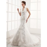 Mermaid Halter Chapel Train Satin Tulle Wedding Dress With Lace Beadwork (002001251)
