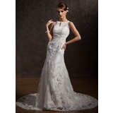 Trumpet/Mermaid Scoop Neck Chapel Train Satin Tulle Wedding Dress With Lace Beading