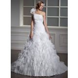 Ball-Gown One-Shoulder Court Train Organza Wedding Dress With Ruffle Flower(s) (002012798)