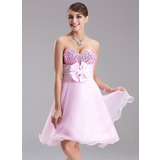 Empire Sweetheart Short/Mini Organza Satin Sequined Homecoming Dress With Ruffle Beading Flower(s) Bow(s) (022003368)