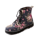 Cloth Flat Heel Ankle Boots Martin Boots With Lace-up shoes