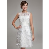 Sheath/Column Scoop Neck Knee-Length Organza Satin Wedding Dress With Feather (002011489)