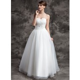 Ball-Gown Sweetheart Floor-Length Organza Wedding Dress With Ruffle Lace Beading
