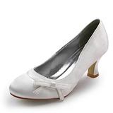 Satin Kitten Heel Closed Toe Pumps Wedding Shoes With Bowknot (047006976)