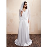 Sheath/Column V-neck Sweep Train Charmeuse Wedding Dress With Ruffle Lace