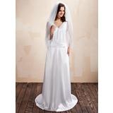 Sheath/Column V-neck Sweep Train Charmeuse Wedding Dress With Ruffle Lace
