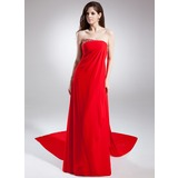 Empire Strapless Watteau Train Chiffon Prom Dress With Ruffle Beading