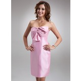 Sheath/Column Sweetheart Short/Mini Taffeta Bridesmaid Dress With Ruffle Bow(s)