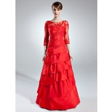 A-Line/Princess Scoop Neck Floor-Length Taffeta Tulle Mother of the Bride Dress With Lace Beading Cascading Ruffles