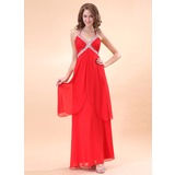 A-Line/Princess Halter Floor-Length Chiffon Holiday Dress With Ruffle Beading (020014398)