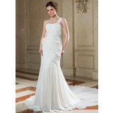 Trumpet/Mermaid One-Shoulder Chapel Train Chiffon Wedding Dress With Ruffle Beading Sequins