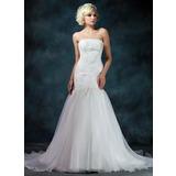 Trumpet/Mermaid Strapless Chapel Train Organza Satin Wedding Dress With Lace Beading