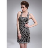 Sheath Square Neckline Short/Mini Charmeuse Cocktail Dress With Beading (016008378)
