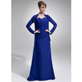 A-Line/Princess Scalloped Neck Floor-Length Chiffon Mother of the Bride Dress With Ruffle Beading Sequins