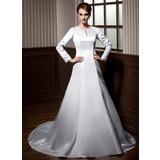 Vestidos princesa/ Formato A Decote redondo Cauda longa Cetim Vestido de noiva com Renda Bordado