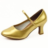Leatherette Heels Pumps Modern Dance Shoes With Buckle