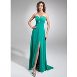 Empire Sweetheart Sweep Train Chiffon Prom Dress With Ruffle Beading Split Front