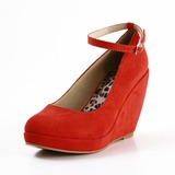 Suede Leatherette Wedge Heel Closed Toe Platform Wedges Pumps With Buckle