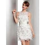 Sheath/Column Scoop Neck Short/Mini Organza Satin Wedding Dress With Ruffle Flower(s)