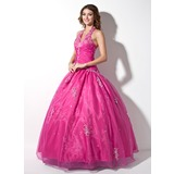 Ball-Gown Halter Floor-Length Organza Quinceanera Dress With Ruffle Lace Beading