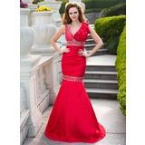 Trumpet/Mermaid V-neck Floor-Length Taffeta Prom Dress With Ruffle Beading