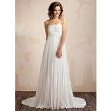 Empire Strapless Sweep Train Chiffon Wedding Dress With Ruffle Lace Beadwork (002011587)