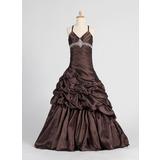 A-Line/Princess V-neck Floor-Length Taffeta Flower Girl Dress With Ruffle Beading