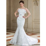 Mermaid Scalloped Neck Court Train Organza Satin Wedding Dress With Lace Beadwork Sequins