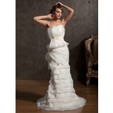Sheath/Column Scalloped Neck Court Train Organza Satin Wedding Dress With Ruffle Lace Sashes Beadwork