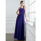 A-Line/Princess Halter Floor-Length Chiffon Bridesmaid Dress With Ruffle Bow(s)