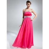 Empire Strapless Floor-Length Chiffon Charmeuse Prom Dress With Beading Cascading Ruffles