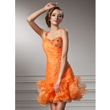 Sheath/Column Sweetheart Short/Mini Organza Homecoming Dress With Ruffle Beading