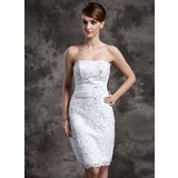 Sheath/Column Strapless Knee-Length Organza Satin Lace Wedding Dress With Beading Flower(s) Sequins
