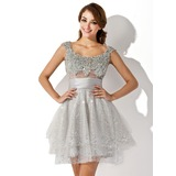 A-Line/Princess Scoop Neck Short/Mini Tulle Charmeuse Cocktail Dress With Ruffle Beading Sequins