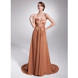 A-Line/Princess Scalloped Neck Court Train Chiffon Charmeuse Evening Dress With Ruffle