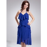 Empire Halter Asymmetrical Chiffon Bridesmaid Dress