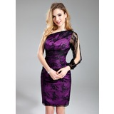 Sheath/Column One-Shoulder Knee-Length Charmeuse Lace Bridesmaid Dress
